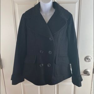 Guess black wool blend pea coat size L
